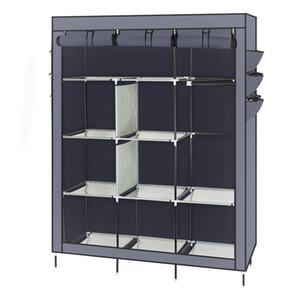 69inch-StivaliNon tessuto non tessuto assemblato Abbigliamento armadio Cabinet Colore Grigio