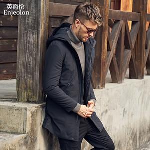 Enjeolon Marca inverno spesso con cappuccio Jcaket Lungo Parka caldo 3XL cappotto degli uomini MF0624 MX200319