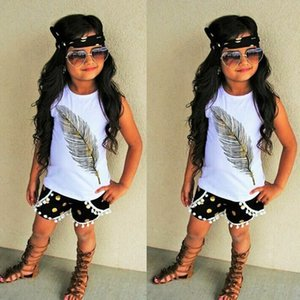 17 18 Новый 3шт детская девочка рукавов перо рубашка блузка + шорты + повязка на голову одежда