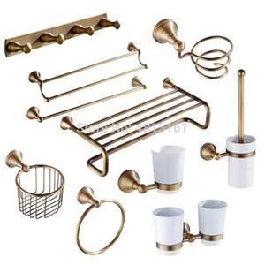 Latón antiguo cuarto de baño Set de accesorios de montaje en pared de baño toalla de hardware estantes titular de la ducha baño conjunto de hardware