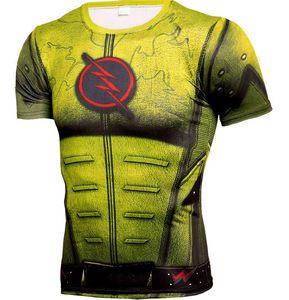 2019 gym new T Shirt 3D Print Captain America Sport T-Shirt Men Run Short Sleeve Top Compression Shirt Flash man