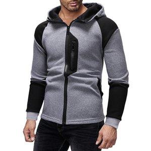 Hoodies de emenda da forma dos homens de alta qualidade top zipper design dos homens streewear hoodies hip-hop high street cardigan roupas