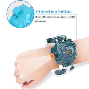 Transformar Juguetes Robot reloj de pulsera niños 3en1 proyección de reloj digital Deformación del robot de rescate regalo de los juguetes electrónicos de aprendizaje # g5
