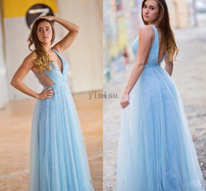 Light Sky Blue Prom Dresses Long 2020 Deep V Neck Backless A Line Cutaway Sides Sequined Formal Women Evening Party Gowns for Sweet 16
