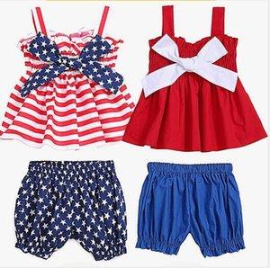 Kinder-Designer-Kleidung Independence Day Kleidung Sets Striped Stern Strapse Vest Shorts Anzüge Crop Tops Haremshosen Outfits Kostüm C5932