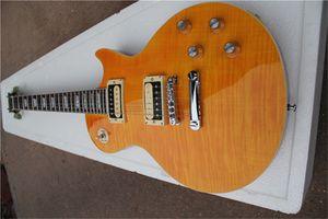 free shipping LP standard slah yellow guitar,mahogany body with flamed maple veneer,Horn signature, HH pickups,white binding