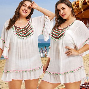 2018 mujeres del traje de baño ropa de playa casual llevar suelto playa cubre para arriba la borla de verano de las señoras Camiseta larga Tops L-XL