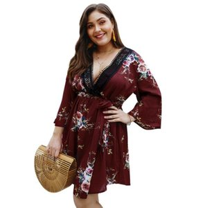 2019 Plus Size Summer Dresses For Women Casual Dresses With Flora Printted Spring Antumn Fashion Lady Skirts 4 Styles XL-4XL Size Wholesale