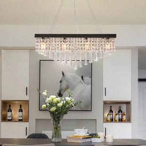 تصميم جديد مستطيل حديث L 80cm W 25cm crystal chandelier light led pendant lamps with black plate for batching room island