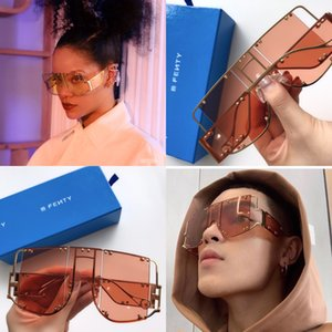New fashion avant-garde sunglasses FENTY special design large frame protection square goggle top quality light color decorative eyewear