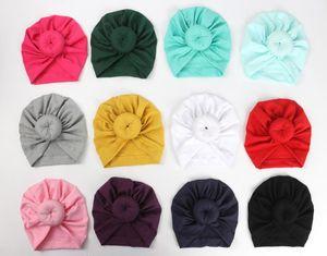 Moda Sevimli Bebek Bebek Çocuk Toddler Çocuk Unisex Topu Düğüm Hint Türban Renkli Bahar Sevimli Bebek Çörek Şapka Katı Renk Pamuk Hairban