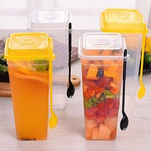 960 ml desechables Copas gruesos vasos para beber de plástico transparente con tapa de la taza de té con jugo Tenedor