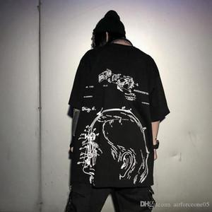 Estilos Mens Designer Oversize camisetas Hiphop High Street Darkly Verão Tops Casual camisas soltas Mens T