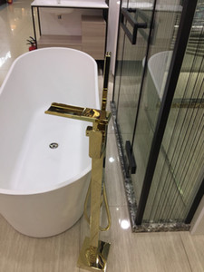 Luxury Champagne Gold Bathtub Floor Mounted Waterfall Faucet Single Holder Dual Control Freestanding Mixer Filler RS-001