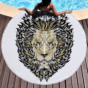 New Geometry Pattern Printed Round Beach Towel With Tassels Microfiber 150cm Summer Swimming Picnic Mat Tapestry Travel Blanket H326 015