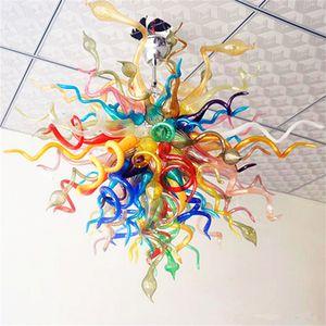 Designer incroyable en verre soufflé bouche Lustres Unique décoratif haut plafond décoration moderne verre soufflé Pendentif Lampes