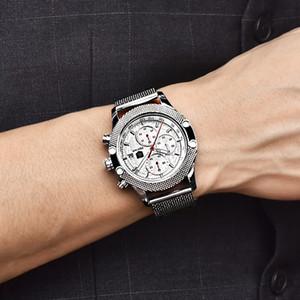 Casual BENYAR Assista Men Quartz Chronograph Relógios Negócios Relógio de malha de aço de pulso Relógios Steel Band relógio impermeável Men Saat