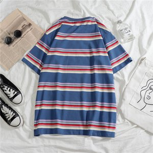 Moda erkek tişört yaz çizgili 2020 Kısa kollu hip hop mavi beyaz elbise Kısa Kore stile komik Boy üst gevşek