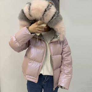Moda-Ceket Kadın Parlak Aşağı Parka Gerçek Rakun Kürk Yaka Kadın Ceket Kış Kapüşonlu Parkas Sıcak Kalın Parka Kadın CoatMX190822