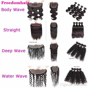 Brazilian Body Wave Straight Human Hair With Lace Closure Peruvian Hair Bundles with Frontal Deep Water Wave Hair Bundles with Closure