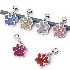 Cute Dog Paw Shaped Pet Tag Name Brand Key Ring ID Card Keychain Metal Puppy Cat Neck Pendant Key Holder Wholesale 6 Colors DBC BH2854