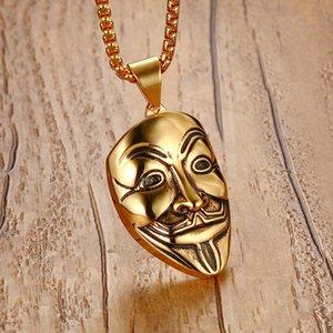 Mprainbow Collares para hombre Acero inoxidable V para Vendetta Máscara Collar colgante Tono dorado Joyería de moda para mujeres o hombres Collier