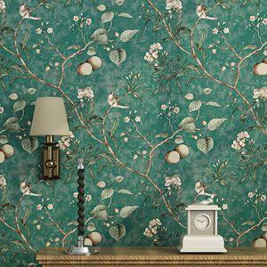 European Style Silk papel de parede 3d Wallpaper Retro Handmade Peony Floral Wall paper Mural Background papier peint