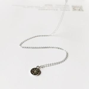 المصنع مباشرة البوصلة قلادة قلادة 100 ٪ الصلبة 925 فضة المرأة مجوهرات فتاة قلادة طالب هدية 5pcs / lot