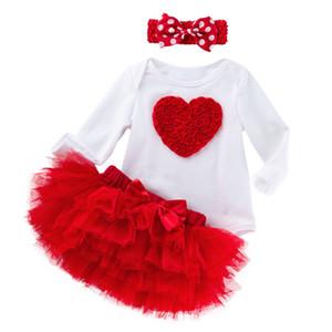 3PCS الفتيات المولود الجديد الملابس مع الزي الأحبة عقال الرضع يوم وردة حمراء 3D روز الزهور توتو اللباس مع 6 طبقات الكشكشة
