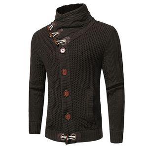 Designer Hommes Cardigan Manteau De Mode Épais Corne Bouton Chandails Hommes Casual Solide Couleur Mince Survêtement Mâle Cothing