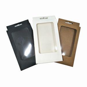 Coloré 10x17x1.5 cm de papier Kraft Lot fenêtre Poly électronique Accessoire Suspendre Trou d'emballage Boîte Paperboard main savon Boîtes téléphoniques Case