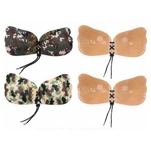 Camouflage Brustpolster Schmetterlingsflügel Form Silikon Push Up unsichtbare Unterwäsche nahtlose Sexy Gather trägerlosen BH HHA329