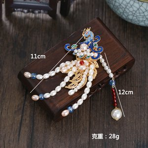 ancient Style Han clothing headwear hair jewelry Chinese style fairy pearl tassel women side clip accessories ancient hairpin
