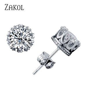 ZAKOL Rouns Stud Earings Modeschmuck Unisex Trendy Frauen / Männer Kristall Ohrringe Krone Ohrring Piercing Geschenke Großhandel FSEP398