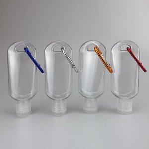 50ml di plastica di viaggio per Clear Portachiavi Hook bottiglie Hand Sanitizer Shampoo riutilizzabili bottiglie vuote Contenitori Stringere portatili con flip Cap