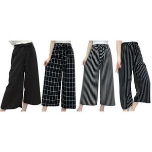 Safra de verão New listrada preto estilo solto de cintura alta calça casual Mulheres Tamanho Chiffon Calças Plus Size Wide-perna