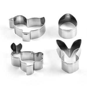 4pcs / set Mini Edelstahl Ostern Ausstechformen 3D-Kuchen-Plätzchen-Form-Fondant-Cutter DIY Partei Backen-Werkzeuge FFA3707a