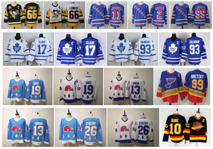 Vintage Mario Lemieux Wayne Gretzky Brian Leetch Mark Messier Joe Sakic Wendel Clark Canucks Pavel Bure New York Rangers Retro Hockey Jersey