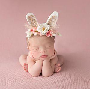 Cinta de cabeza Fotografía caliente Europa de la venda del bebé infantil Abrazadera conejito flor de la corona del bebé flor de la corona Puntales Accesorio para el pelo A240