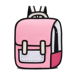 مصمم للجنسين الكرتون الكرتون ثنائي الأبعاد الشخصية الظهر ترف نمط حقيبة الظهر الطلاب مدرسية عالية الجودة
