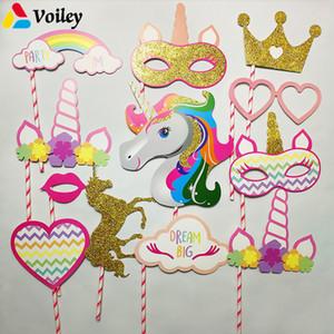 VOILEY Gelin Duş Photo Booth Dikmeler Flamingo Unicorn Parti Süslemeleri Doğum Günü Partisi Photobooth Sahne Düğün Süslemeleri, Q
