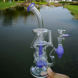 10 pulgadas único doble al reciclado del vidrio de turbina Bong rosa púrpura Embriagador cristal Tubos Perc percolador del agua del aparejo Fab Fab huevo Dab plataformas de petróleo