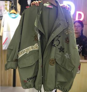 Langarm Demin Jacke Frauen lösen Stickerei Basic-Jacken-Mantel Weibliche Jeans-Mantel-beiläufige Mädchen Outwear plus Größe 5XL