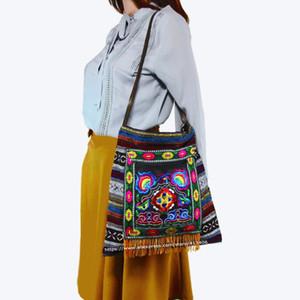 Frete grátis Vintage Hmong Tribal Étnico Thai Indian Boho bolsa de ombro saco de mensagem de linho bordado artesanal Tapeçaria SYS-1009A