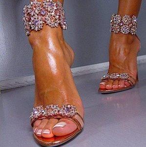 2018 Chaussures De Noce Sandales En Cristal Bout Ouvert Talons Hauts Femmes Rouge Or Talon Sandales Pantoufles Pompes