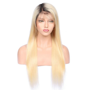 1bt#613 Glueless Full Lace Human Wig with Baby Hair Pre Plucked 150 Density Brazilian Remy Hair Ombre Blonde Human Hair Wigs