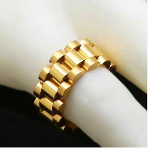 Классические роскошные 24K позолоченные мужчины ремешок для часов кольца из нержавеющей стали золотой ссылка Кольцо хип-хоп мужской стиль мужчины кольцо часы группа кольцо
