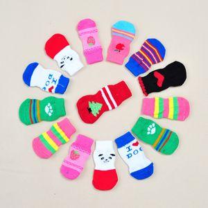 Pet Köpek Kedi Çorap Yumuşak Pamuk Köpek Çorap Kaymaz Örgü Ayakkabı Sıcak Noel Skid Alt Küçük Köpek Köpek Boots Paw Koruyucu Weave