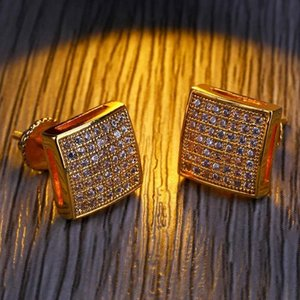 Mens Hip Hop Stud Earrings Jewelry New Fashion Gold Silver Simulated Diamond Square Men Fashion Earrings