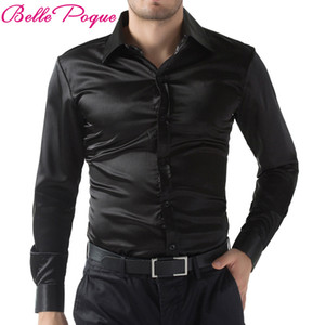 2018 preto / vermelho / vinho roxo Casual Homens Elegante Slim Fit curtas cor sólida longos da luva do Tops Camisa Masculina Plus Size 5250 LY191203